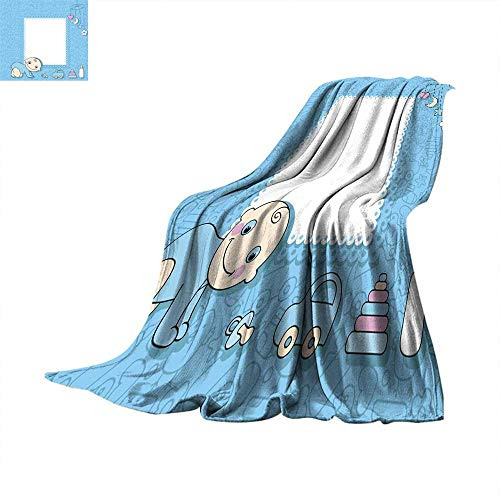 Blanket as Bedspread Sweet Baby boy Announcement Card Style Cartoon Throw Blanket 70
