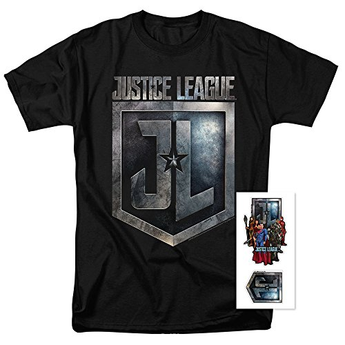 Popfunk Justice League Movie Shield DC Comics T Shirt & Exclusive Stickers - Shop At Justice