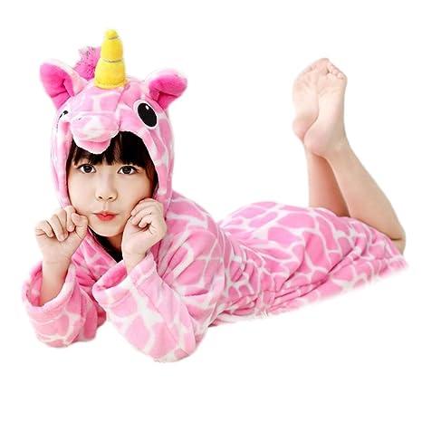 Emorias 1 Pcs Albornoz de Baño Niño Unicornio Suave Pijama Dibujos Animados Unisex Bata de Dormir