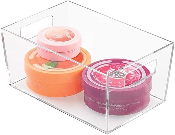 mDesign Caja de plástico con asas – Organizador transparente con diseño atractivo – Cajas organizadoras para accesorios de baño y otros utensilios: Amazon.es: Hogar