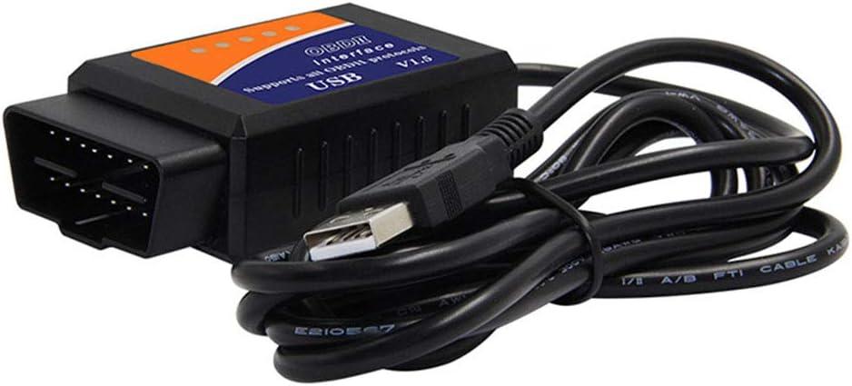 Ayuda del esc/áner de diagn/óstico del coche de AKDSteel ELM327 USB V1.5 OBD2 para los productos de Windows XP Windows 7//8