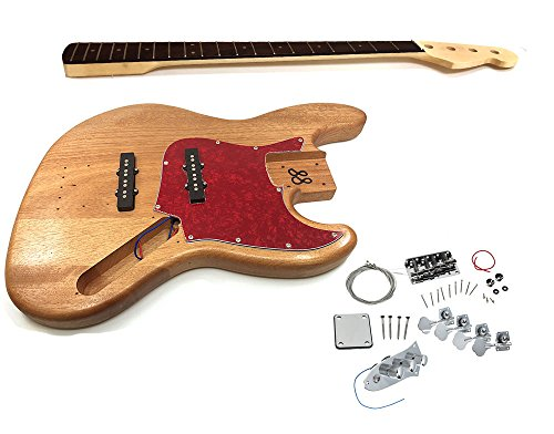 Solo Jazz Bass Style DIY Guitar Kit, Basswood Body, Maple Neck Rosewood FB, JBK-1 (Maple Body Kit)