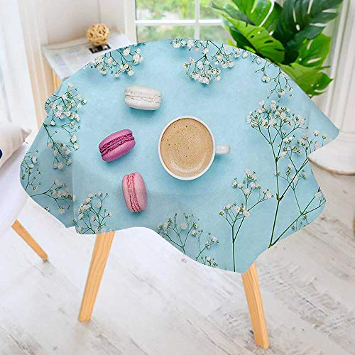 UHOO2018 Easy-Care Cloth Tablecloth Round-Breakfast a Cup of Coffee with French Macarons and Gypsophila Flowers Light Blue Great for Buffet Table, Parties, Holiday Dinner & More 71