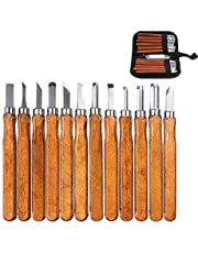 Herramientas de talla de madera mreechan,12 pcs de cuchillo de talla de madera con piedras de afilar,herramientas de cuchillo de talla de madera para madera, fruta, talla de bricolaje,escultura y cera