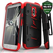 Motorola G4 Plus Case, Zizo [Bolt Series] with FREE [Motorola G4 Plus Screen Protector] Kickstand [Military Grade Drop Tested] Holster Clip - Moto G4