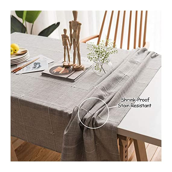"ColorBird Solid Embroidery Lattice Tablecloth Cotton Linen Dust-Proof Checkered Table Cover for Kitchen Dinning Tabletop Decoration (Rectangle/Oblong, 52 x 70 Inch, Gray) - MASTERFUL DESIGN - Featuring elegance embroidered lattice pattern on soft hue cotton linen fabric with seamless hemstitched, this ColorBird elegant modern tablecloth will not only add to the beauty of your home but will also make your meal-time both fun and relaxing ANTI-WRINKLE&ANTI-SHRINK - Super, hard wearing 100% cotton linen is more wrinkle-proof and shrink-proof, hemmed edge adds a finished look and prevents wear and tear; Tablecloth measures 52"" Width x 70"" Length (130 x 180 cm), size deviation is between 1 to 2 inch. Fits tables that seat 4-6 people EASY TO CARE FOR - Machine washable in low temperature or cold water, gentle cycle; Hand wash best; No bleaching; Tumble dry on low heat or lay flat to dry - tablecloths, kitchen-dining-room-table-linens, kitchen-dining-room - 51 YIKgVsvL. SS570  -"