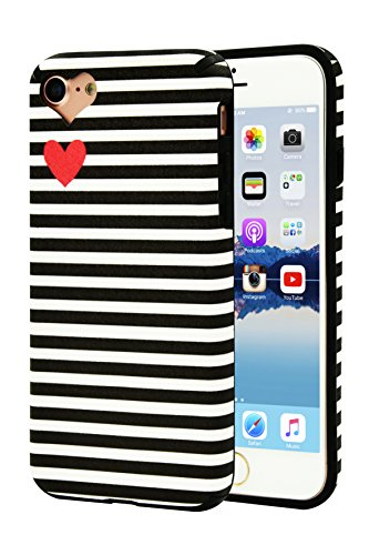 AlphaCell Designer Case compatible with iPhone 8/iPhone 7 Case | Sleek Black & White Charlotte Kinetic Striped (Artsy Lovely Cute Mini Red Heart) | Slim Protective Soft Silicone Cover | Snug Fit
