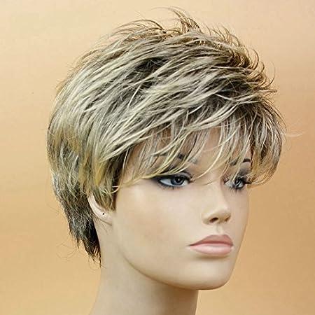 Peluca para mujer, de material sintético, pelo corto recto, tan natural que parece pelo real, ideal para disfraces y fiestas, de color dorado claro: ...