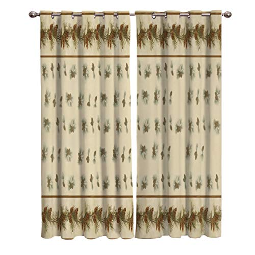 "T&H Home Draperies & Curtains, Merry Christmas Pine Cone Pine Needle Window Curtain, 2 Panel Curtains for Sliding Glass Door Bedroom Living Room, 80"" W by 84"" L"