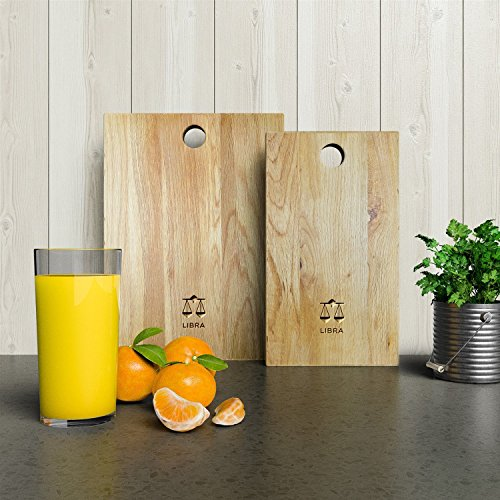 Personalized Wooden Chopping Board with Zodiac - Libra design - Solid Oak, Ideal for Chopping / Cutting or Presenting your food - A Perfect Gift for Friends and Loved Ones.