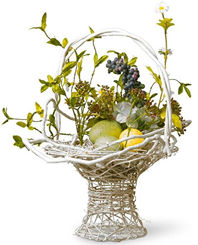 Decorated Easter Basket Hand Crafted Colored Flowers Holiday Decorations (Painted Metal Grapevine)