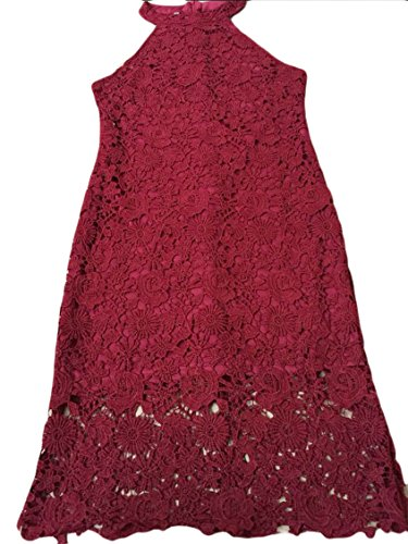 Jaycargogo Women Sleeveless Red Crochet Wine Hipsters Halter Sexy Floral Dress Lace r4xaRqZrw