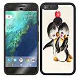 "Google Pixel Case, Laser Technology for Protective Case Pretty Elegant Design for Google Pixel - Cute penguin couples ""I love you"""