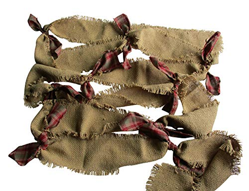 s Christmas Burlap Fringed Garland Natural Burlap with Homespun Bows ()