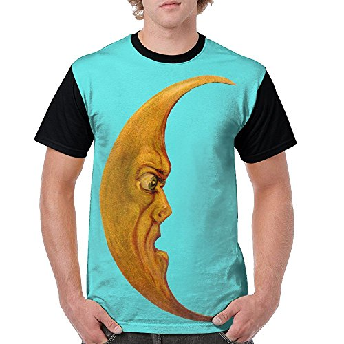 Men's Funny Moon Face Funny Tees Black Size - Naked Lebanon Men
