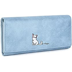 """UTO Women PU Leather Cute Cat Wallet Large Capacity 5.5"""" Phone Case Card Holder Blue"""