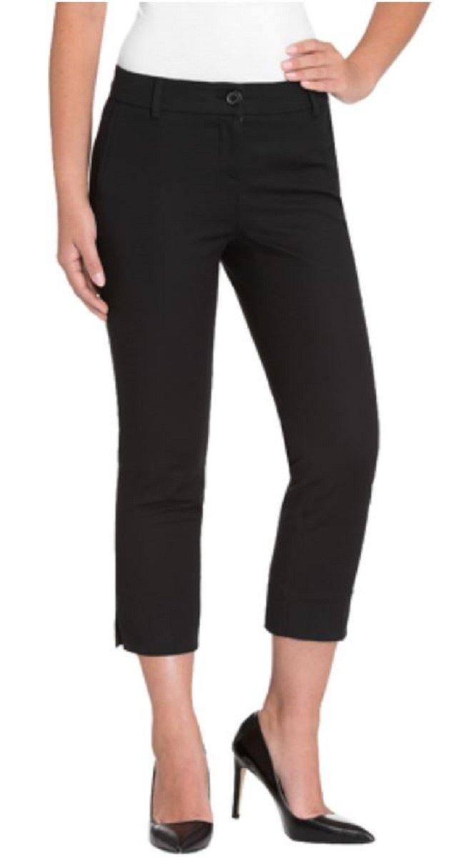 HILARY RADLEY SLIM LEG CROP DRESS PANT STRETCH SITS AT WAIST, Black, Size 4