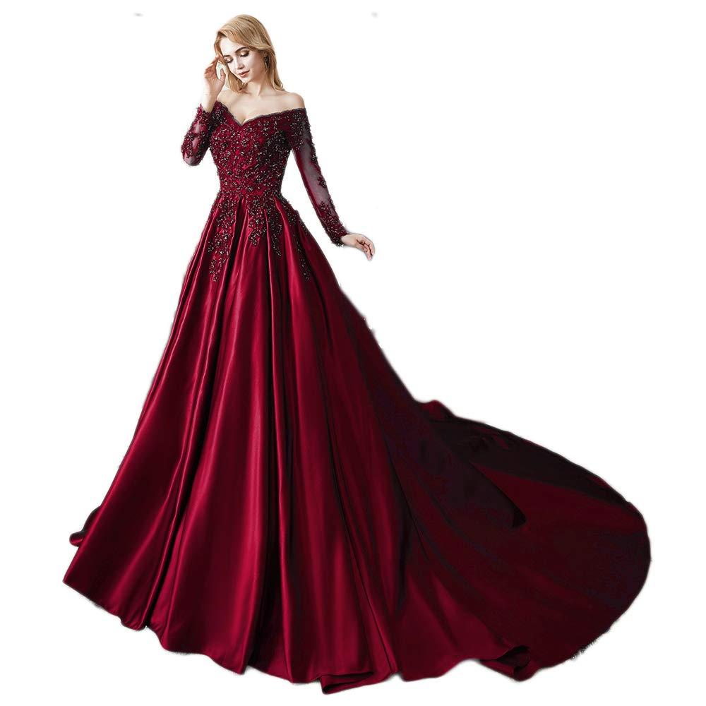 Burgundy Miao Duo Women's Long Sleeves V Neck Beaded Wedding Prom Dresses Off Shoulder Formal Ball Gown 86pM