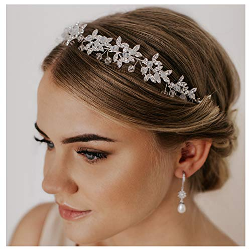 SWEETV Silver Rhinestone Wedding Headband Tiara Crystal Headpiece Bridal Hair Accessories for Bride Women