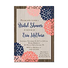 coral and navy rustic blooms bridal shower invitations set of 10 invitations