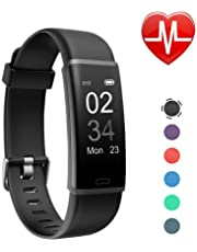 Letsfit ID115U HR Fitness, Heart Rate Sleep Monitor and Step, Waterproof Activity Tracker with Calorie Counter, Pedometer Watch for Kids Women Men