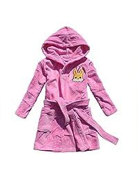 Cartoon rabbit embroidered girl bathrobe 100% cotton girl robe gown