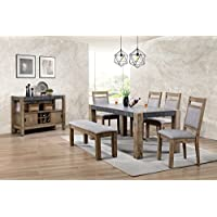 Roundhill Furniture D725-6PC-S725 Costabella Dining Collection 7 PC Set, Table with 4 Chairs and Bench and Server