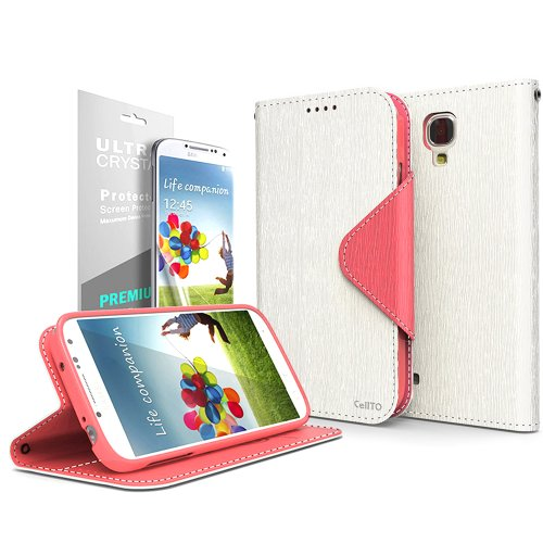 Cellto Samsung Galaxy S4 Premium Wallet Case with Screen Protector [Slim Ultra Fit] [White Pink] Diary Cover /w ID Pocket Top Quality for Galaxy S IV Galaxy SIV i9500 [Made in Korea] + 1 Premium Cellto Clear Screen Protector (S4 Wallet Case Genuine Leather)
