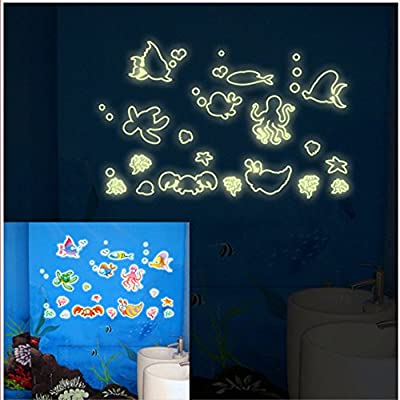 ufengke Fish and Aquatic Animals Wall Decals Fluorescence Stickers Glow In The Dark, Children's Room Nursery Removable Wall Stickers Murals