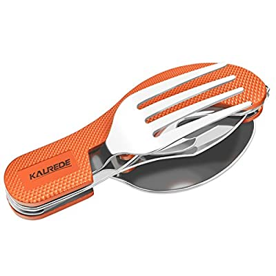 KALREDE Camping Utensils Cutlery Set 4-in-1 Stainless Steel Camping Fork Knife Spoon Bottle Opener Set- Folding and Detachable Camping Flatware Tableware with Aluminum Handle(Orange)