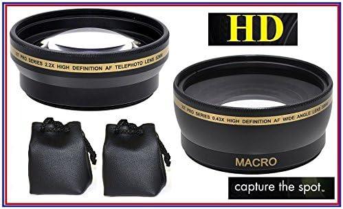 2-Pcs Pro HD Lens Telephoto Wide Angle for Panasonic Lumix DMC-FZ300 DMC-FZ200