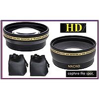 2 Lens Set Pro HD Wide Angle & Telephoto Lens Set for Canon Powershot SX50 HS