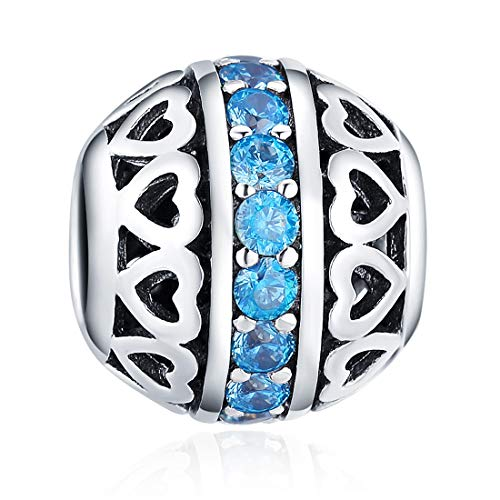 - March Birthstone Charms Ocean Blue Crystal Charm Beads 925 Sterling Silver Charms for Bracelets, Birthday Gift for Women Girls