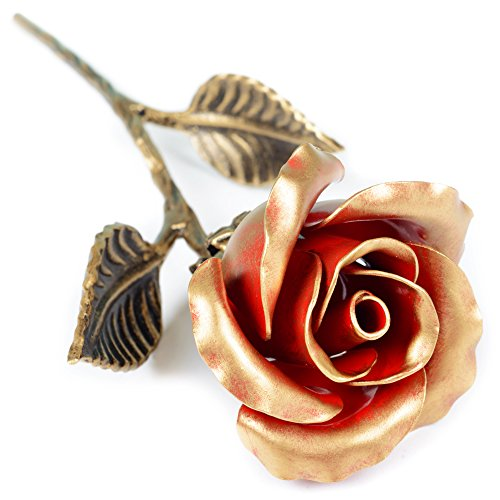 Hand Forged Iron Rose - 11th / 6th Year Wedding Anniversary Gift for Her/Red Metal Rose Steel Rose by MetalArt (Image #8)'