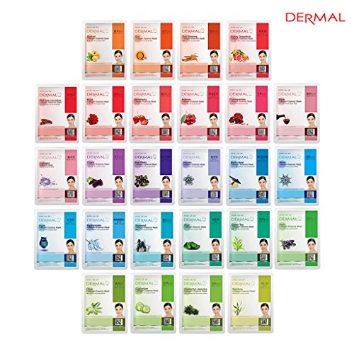 Price comparison product image Dermal Korea Collagen Essence Full Face Facial Mask Sheet 26 Red & Green Combo Pack - Skin Elasticity, Soothing