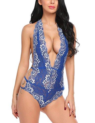 ADOME Combinazione Blu Sexy Teddy Body Lingerie Di Lace Donna Floreale Halter Pizzo rO7qr1