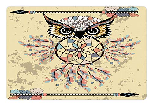 Lunarable Boho Pet Mat for Food and Water, Art Print with Owl Dreamcatcher and Feathered Arrows, Non-Slip Rubber Mat for Dogs and Cats, 18