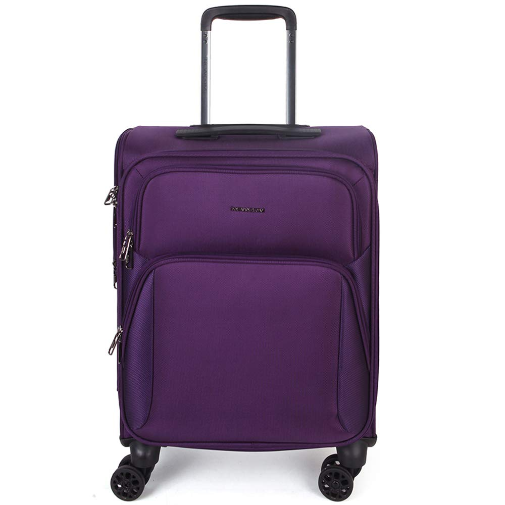 NEWCOM Luggage 20 Business Carry On Lightweight Softside Spinner Soft Shell Suitcase with USB Charging Ports Purple