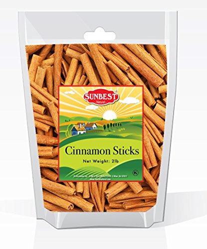 3' Cinnamon Sticks (Sunbest Whole Cinnamon Sticks , 3'' Inch Length in Resealable Bag , % 100 Raw From Indonesia -Non Gmo-Vegan &Kosher -32 Ounce (2 Lb))