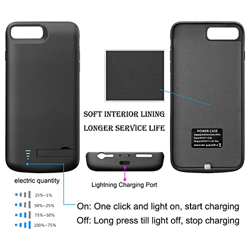 Battery case for iPhone 7 Plus 8 Plus Cofuture 8000mAh electrica Bank lightweight Extended Battery Charger Protective Charging case aid Lightning Headphone Sync because of with the help of Pop out Kickstand iPhone 7P 8P Black cordless Accessories