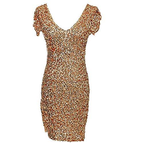 Elasticizzato Colore Clubwear Abito Maniche Donna Mini Cocktail E Rosso Corte In Paillettes Confortevole Vestito Dimensione Unica Oro Da Sera Con Taglia E0qWnW8Z7