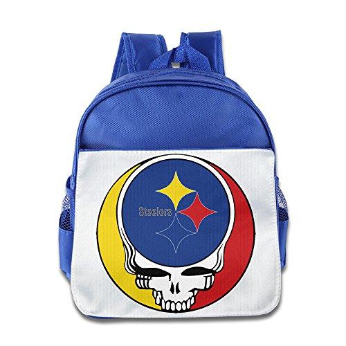 HYRONE Pittsburgh Skull Steelers Grateful Kids School Bagpack Bag For 1-6 Years Old RoyalBlue