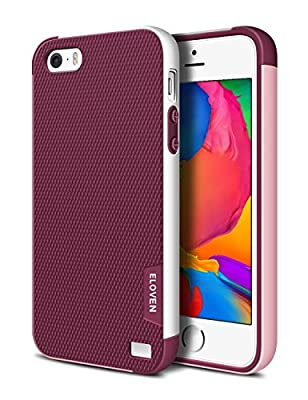 iPhone 5S Case, ELOVEN(TM) Ultra Slim 3 Color Hybrid Dual Layer Shockproof Case [Extra Front Raised Lip] Soft TPU & Hard PC Bumper Protective Case Cover for Apple iPhone 5S