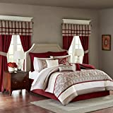 Comforter Sets with Matching Curtains Madison Park Essentials Jelena King Size Bed Comforter Set Room in A Bag - Burgundy, Khaki, Embroidered Vine Pattern – 24 Pieces Bedding Sets – Faux Silk Bedroom Comforters