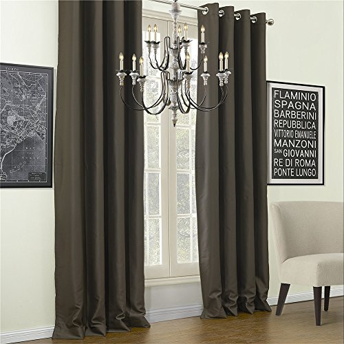 IYUEGO Solid Calm Classic Blackout Grommet Top Curtain Draperies With Multi Size Custom 72″ W x 102″ L (One Panel)