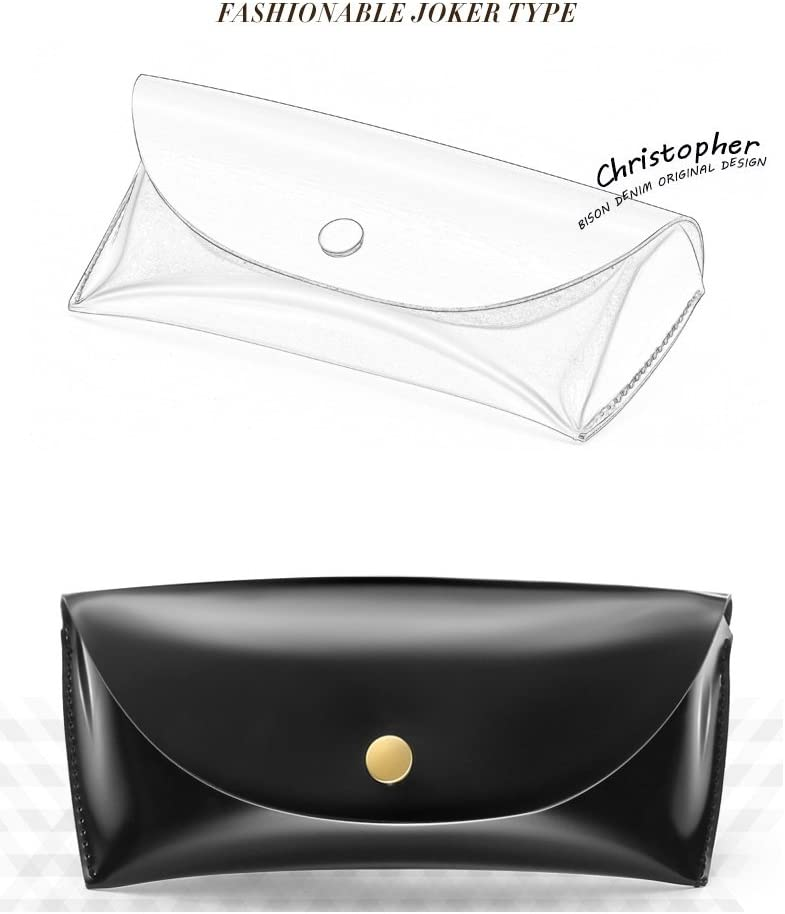Vintage Portable PU Leather Sunglasses Pouch Soft Eye Glasses Carry Case