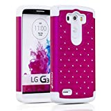 Fosmon® LG G3 Case (HYBO-SD Series) Star Diamond Hybrid Dual Layer Silicone Case Shell Cover (Sturdy Form-Fitted) for LG G3 (All Carriers) - Fosmon Retail Packaging (Hot Pink / White)