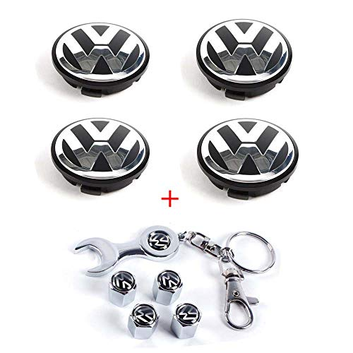 (CCBaseball Set of 4 - Volkswagen Wheel Center Caps Emblem, 65mm VW Rim Hub Cover Logo + Set of 4 Tire Valve Covers for VW Volkswagen Golf Jetta GTI Passat)