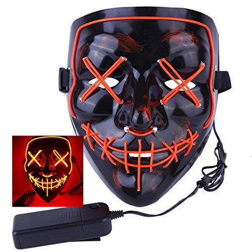 2018 Halloween Scary Mask LED Light Up Purge Mask for Festival Cosplay Halloween Costume (Red Mask)