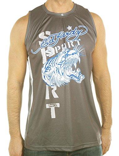 Ed Hardy Mens Tiger Roar Sport Tank Top- Gray - Medium